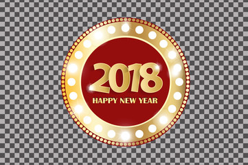 Happy New Year 2018 greeting card concept with golden cuted white numbers isolated on transparent background. Vector illustration