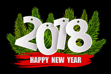 New Year 2018 greeting card concept with christmas tree branches isolated on black. Vector illustration