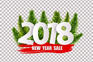 New Year sale 2018 concept isolated on transparent background. Vector illustration