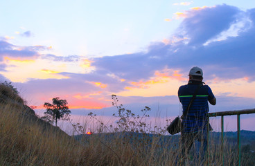 sunset with photographer