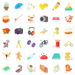 Instrument icons set, cartoon style
