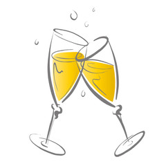Champagnergläser isoliert auf weiß