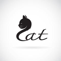 Vector of design cat is text on a white background. Pet. Animal Logo.