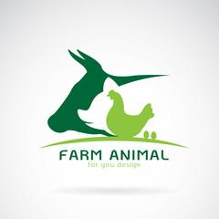 Vector group of animal farm label. Cow,pig,chicken,egg. Logo Animal.