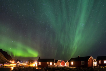 Northern lights over the vilage of Hamnoy