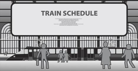 Railway platform with a passenger train