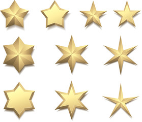 Gold 3d stars isolated on white.