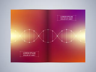 Bi-fold brochure design with DNA molecule background, vector illustration.