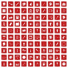 100 paint icons set grunge red