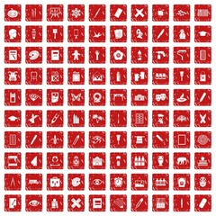 100 paint school icons set grunge red