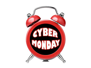 Cyber Monday clock alarm reminder isolated