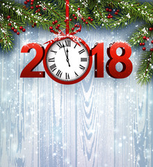 Wooden 2018 New Year background.