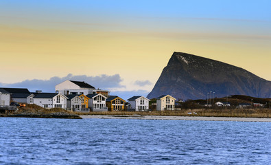 Fotobehang Noord Europa Sommaroy, a populated island located about 36 kilometres west of the city of Tromso in the western part of Troms county, Norway.