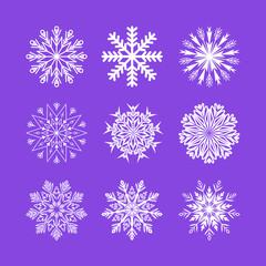 Snowflakes set on light purple background. Winter Holidays Decorative design elements.