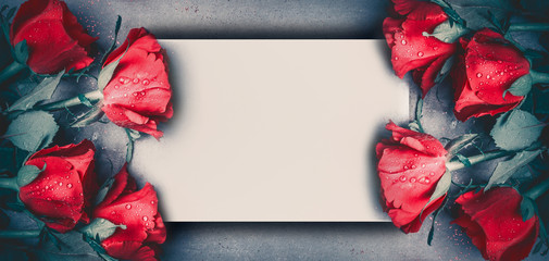 Red roses mock up banner on gray desktop background, top view.  Layout for Valentines day, dating and love greeting card, anniversary and invitations. Retro styled