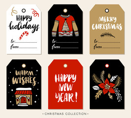 Christmas gift tag with calligraphy. Handwritten modern brush lettering: Merry Christmas, Happy Holidays, New Year, Cheers. Hand drawn design elements.