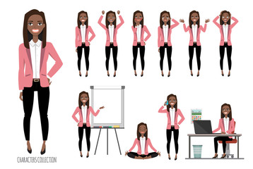 Set of emotions for black african american business woman.