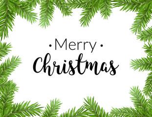 Realistic christmas frame with fir. Merry christmas pine tree decoration border card