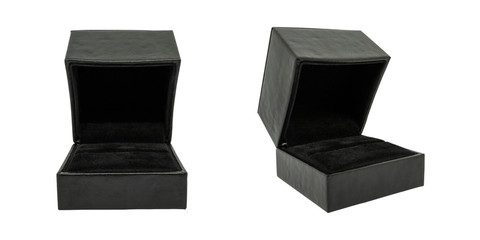 isolated black ring box, isolated black ring case, ring display box
