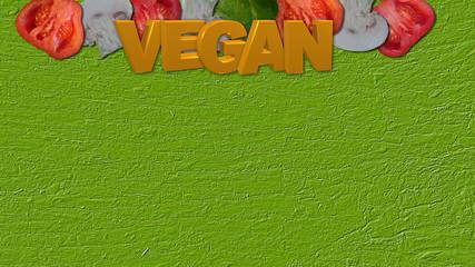 Gemüse mit gelben Text Vegan