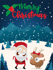 merry christmas santa claus and reindeer clipart