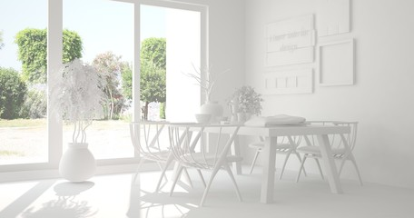 White dinner room with summer landscape in window. Scandinavian interior design. 3D illustration