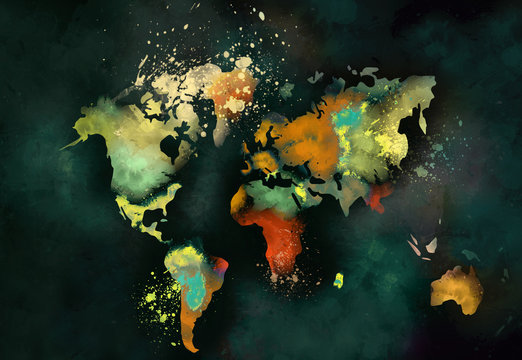 artistic world map painting