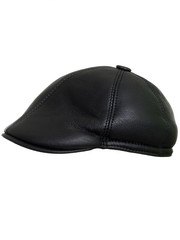 d88ddc5f32a2e Black leather beret flat-crowned hat isolated over the white background