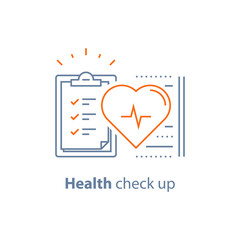 Cardiovascular disease test, health check up checklist, heart diagnostic, electrocardiography service, hypertension risk