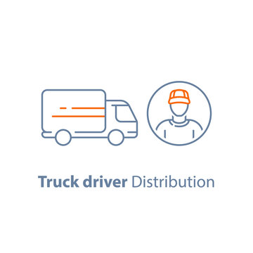 Courier man, transportation vehicle, ruck driver, delivery person, distribution service, logistics company, vector icon
