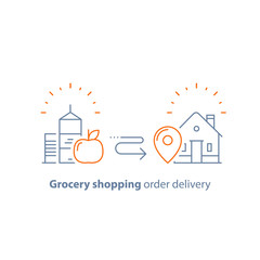 Food and drink grocery order, store delivery, line icon