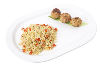 Turkey meatballs with delicious bulgur.