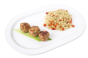 Turkey meatballs with delicious bulgur.