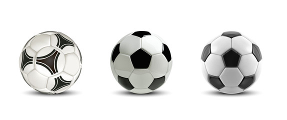 Foto op Plexiglas Bol Vector soccer ball set. Tree Realistic soccer balls or football balls on white background