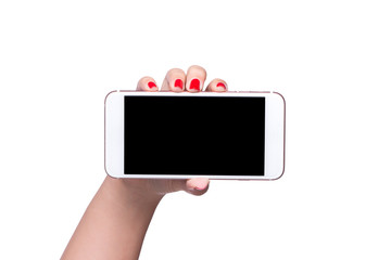 Female hand holding horizontal the black smartphone with blank screen, isolated on white background.