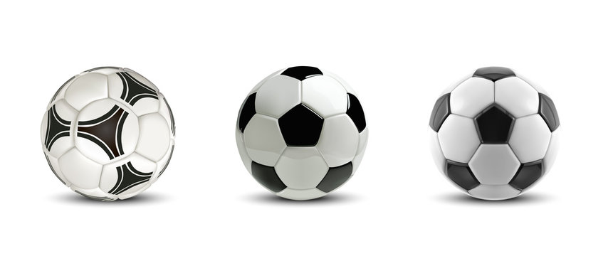 Vector soccer ball set. Tree Realistic soccer balls or football balls on white background