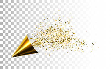 Golden party popper with spraying confetti particles