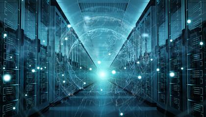 Earth network flying over server room data center 3D rendering