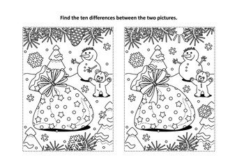 Winter holidays themed find the ten differences picture puzzle and coloring page with Santa's sack, teddy bear, snowman.