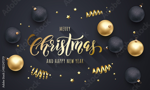 Merry Christmas And Happy New Year Golden Decoration Hand Drawn Calligraphy Gold Font For Greeting