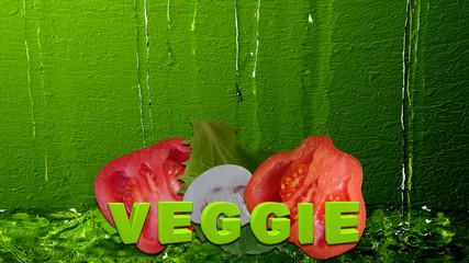 Gemüse mit dem Text Veggie vor Wasser