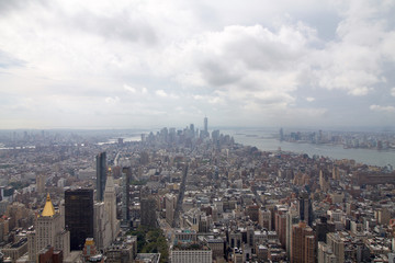 aerial view of Manhattan in new york city in a cloudy day