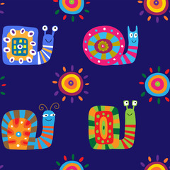 Seamless pattern with cute cartoon snails on a blue background