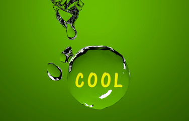 Der Text Cool auf einer grünen Wasserkugel