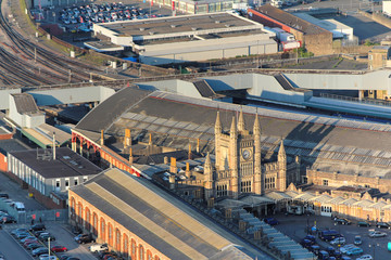 Above the city. Aerial view of Bristol Temple Meads, England.