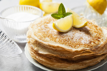 English-style pancakes with lemon and sugar, traditional for Shrove Tuesday.