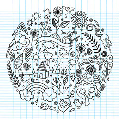 Hand drawing cute doodle ecology concept ,round design element made from icons and signs