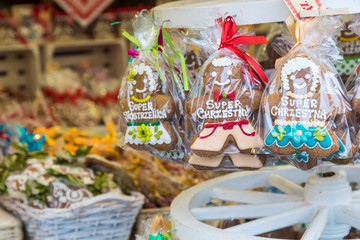 Christmas homemade gingerbread cookies at traditional market in Cracow, Poland. One of the most traditional sweet treats.