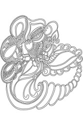 Abstract flower pattern. Hand drawn doodle. In fantasy style