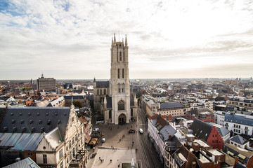 GHENT, BELGIUM - November, 2017: Aerial view of Architecture of Ghent city center. Ghent is medieval city and point of tourist destination in Belgium.